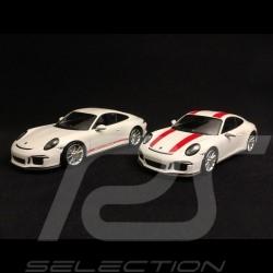 Duo Porsche 911 R type 991 2016 blanche & rouge red & white weiß & rot 1/43 Minichamps 410066220 410066221