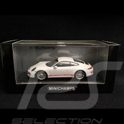 Porsche 911 R type 991 2016 blanc bandes latérales rouges white red side bands weiß rote Seitenband 1/43 Minichamps 410066221