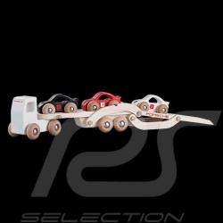 Porsche design camion porte-voitures en bois avec 3 voitures WAP0400100H wooden car transport truck Autotransporter LKW