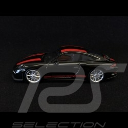 Porsche 911 R type 991 2016 noire bandes rouges black red stripes schwarz rote Streifen 1/43 Minichamps CA04316096