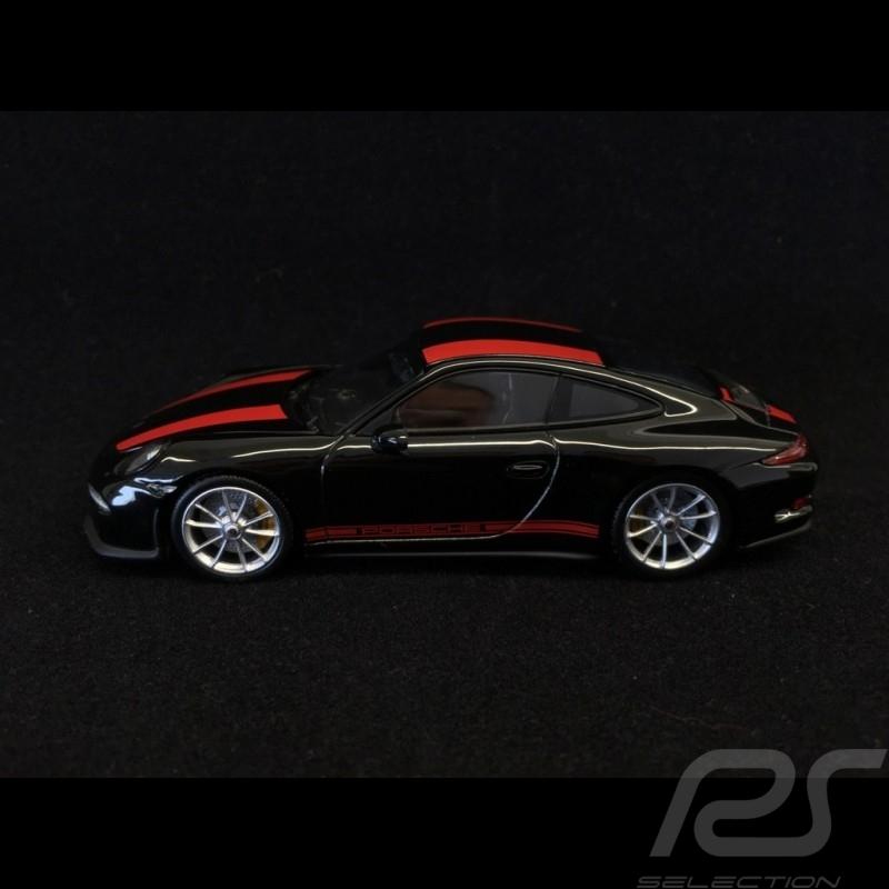 Porsche 911 R type 991 2016 noire bandes rouges black red stripes schwarz rote Streifen 1/43 Minichamps CA04316096