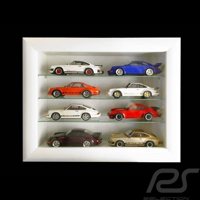 Vitrine murale Wall showcase Wandvitrine pour 8 à 60 miniatures Porsche à l'échelle 1/43 1/24 1/18