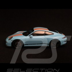 Porsche 911 R type 991 2016 bleu gulf bandes oranges gulf blue orange stripes gulfblau orange Streifen 1/43 Minichamps 41306622