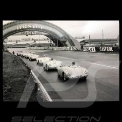 Carte postale Postcard Postkarte Porsche 550 au Mans 1955 Noir et blanc Black and white Schwarz-weiss 10x15 cm