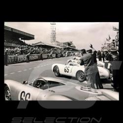 Carte postale Postcard Postkarte Porsche 550 Spyder départ Start 24h du Mans 1955 Noir et blanc 10x15 cm