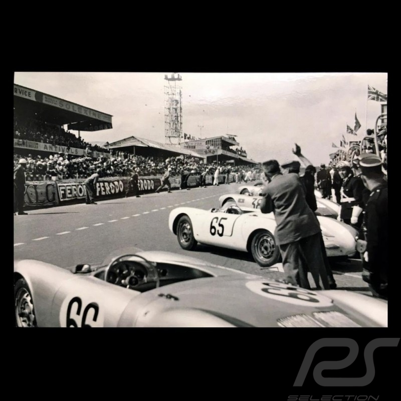 carte postale porsche 550 spyder d part 24h du mans 1955 noir et blanc 10x15 cm selection rs. Black Bedroom Furniture Sets. Home Design Ideas