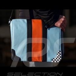 Gulf Messenger bag Leder blau / orange Rennen Layout