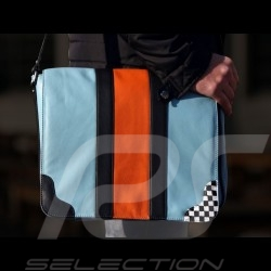 Sac Gulf bandoulière reporter messenger bag cuir leather Leder bleu blue blau / orange style course racing