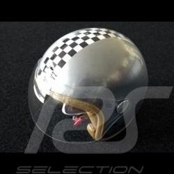 Helm Vintage karierte Flagge Farbe Edelstahl Visier