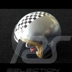 Helmet vintage checkered flag steel colour with visor