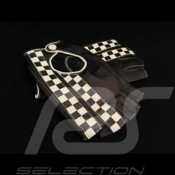 Gants de conduite sans doigts mitaines cuir Racing noir drapeau à damier Gloves Handschuhe
