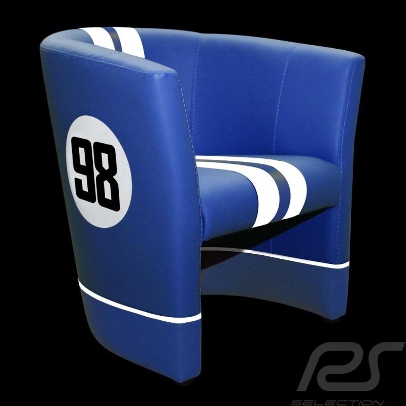 Fauteuil Chair Stuhl cabriolet Racing Inside n° 98 bleu blue blau Cobra racing / blanc white weiß