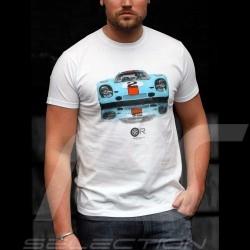 T-Shirt Gulf Porsche 917 blanc white weiß homme men Herren