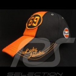 Casquette Cap Kappe Gulf 69 Lucky Number noir black schwarz / orange