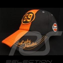 Casquette Cap Kappe Gulf 69 Lucky Number noir black schwarz / orange  - homme men Herren