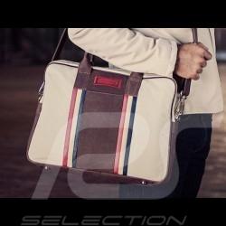Vintage laptop / computer bag shoulder strap leather / cotton beige