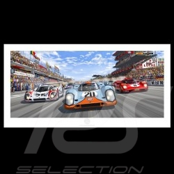 Porsche Poster 917 K n° 20 Gulf Le Mans 1970 start Steve McQueen