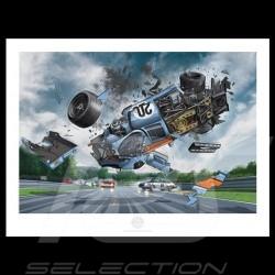 Porsche Poster 917 K n° 20 Gulf Le Mans 1970 crash Steve McQueen