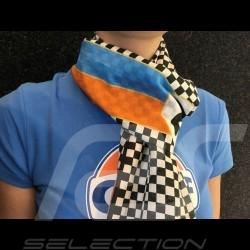 Foulard écharpe Scarf necktie Schal Gulf drapeau à damier n° 20 bandes orange et bleu orange and blue stripes Scarf necktie