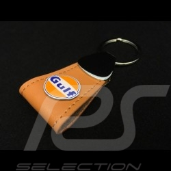 Porte-clés Keyring Schlüsselanhänger Gulf logo cuir leather Leder brun brown braun long