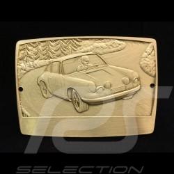Grille badge Porsche 911 n° 6 engraved metal gold colour