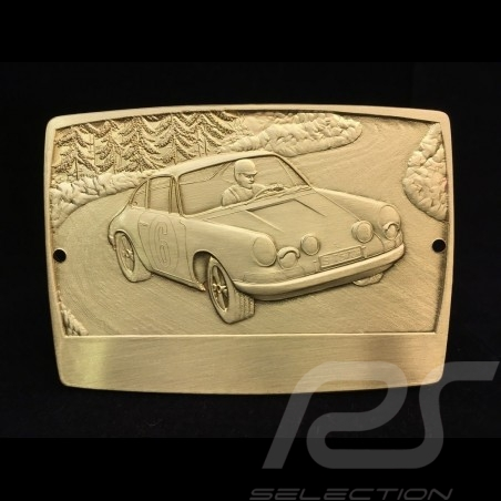Badge de grille GrillBadge Porsche 911 n° 6 métal gravé engraved metal graviert Metall couleur or gold