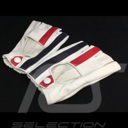Driving Gloves fingerless mittens leather Racing cream red and blue stripes