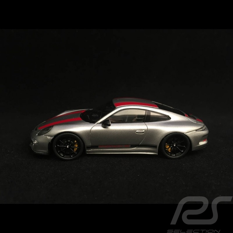 Porsche 911 R type 991 2016 grise bandes rouges et noires 1/43 Spark WAX02020050 gret grau black schwarz rot red