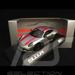 Porsche 911 R type 991 2016 grey / red and black stripes 1/43 Spark WAX02020050