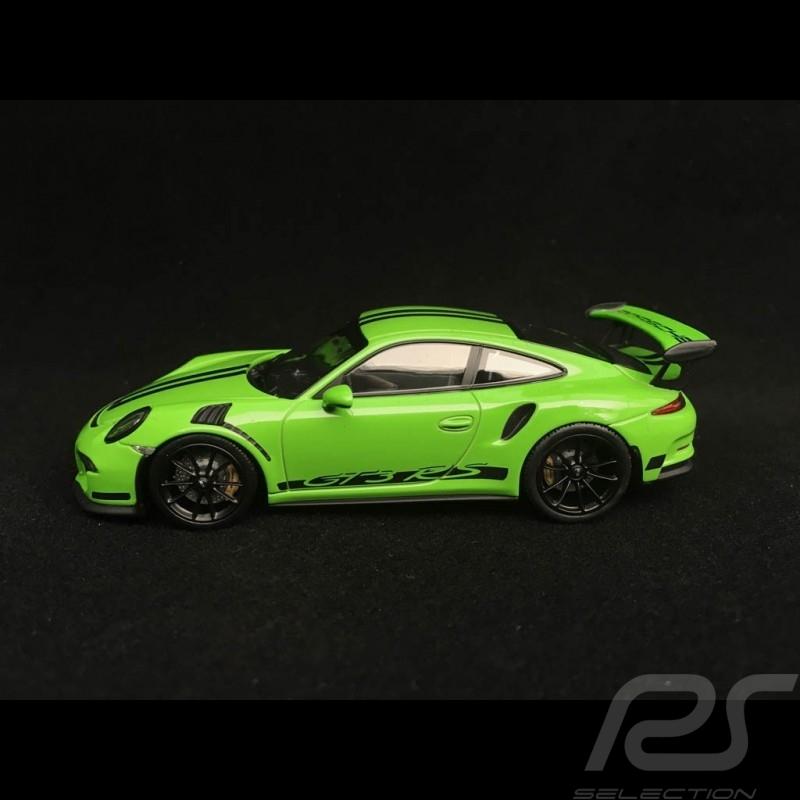 Porsche 911 GT3 RS type 991 yellow green / black stripes 1/43 Minichamps  410063224
