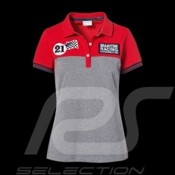 Polo Porsche Martini Racing Collection rouge gris red grey rot grau Porsche Design WAP921J - femme women damen
