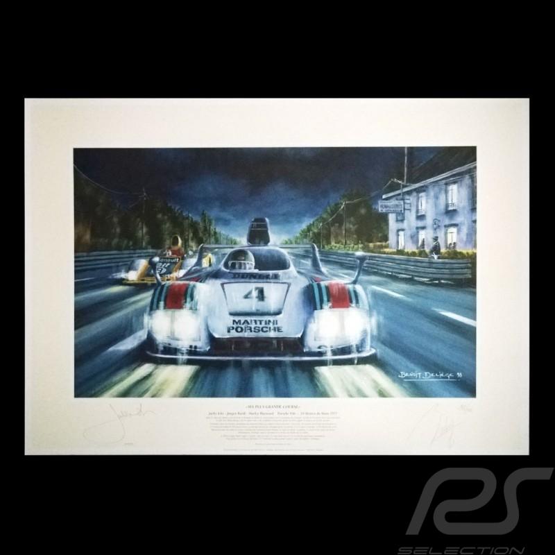 """Porsche Poster 936 n° 4 Martini 24h du Mans 1977 Jacky Ickx """" Ma plus grande course """""""