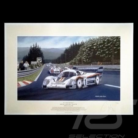 """Porsche Poster 956 n° 1 Rothmans 1000km de Spa 1982 """" Le retour du maître """""""