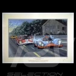 """Porsche Poster 917 K n° 19 Gulf 24h du Mans 1971 """" La poursuite magnifique """""""