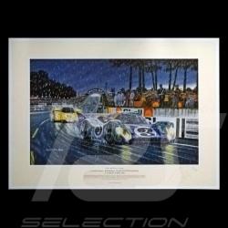 "Porsche Poster 917 LH n° 3 Martini 24h du Mans 1970 "" Psychedelic rain """