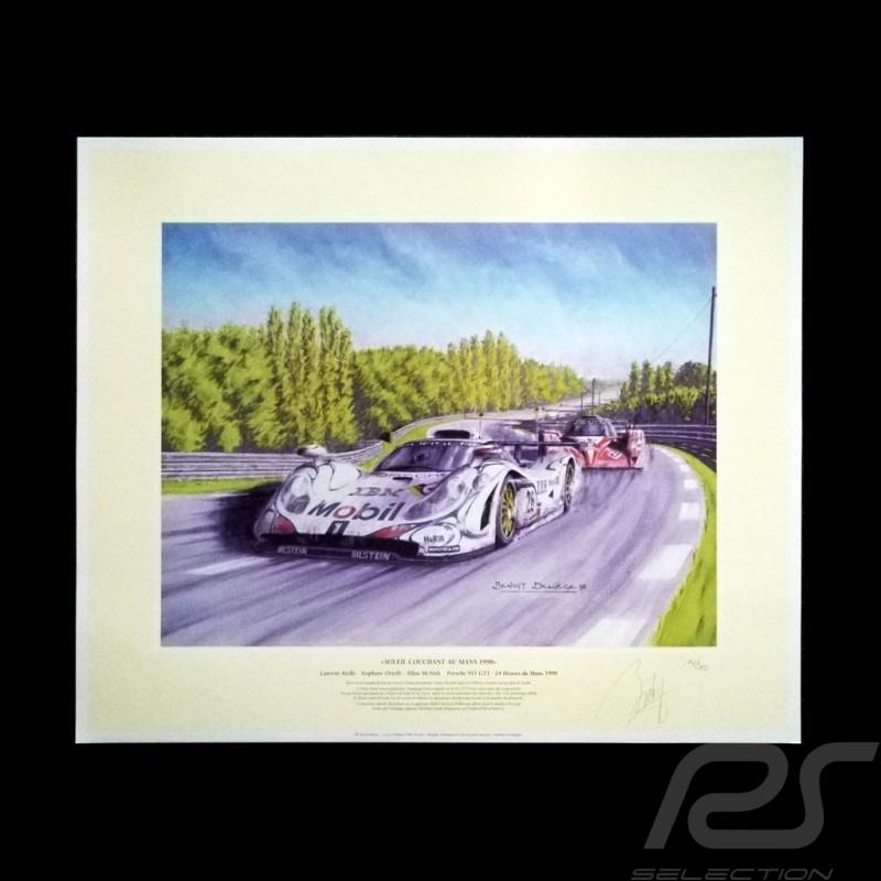 """Porsche Poster 911 GT1 n° 26 Mobil 24h du Mans 1998 """" Soleil couchant au Mans """""""