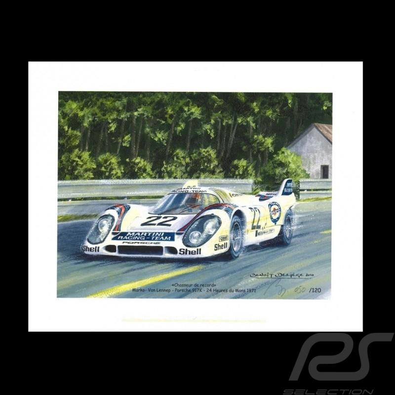 """Porsche Poster 917 K n° 22 24h du Mans 1971 """" Chasseur de records """""""