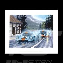"""Porsche Poster 917 K n° 25 Gulf  1000km de Spa 1970 """" Les funambules """""""