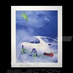"""Porsche Poster Plakat 911 Carrera RS 2.7 """" Rêve bleu """""""