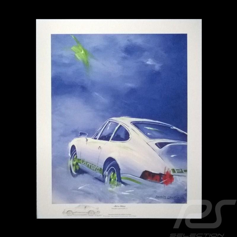 "Porsche Poster 911 Carrera RS 2.7 "" Rêve bleu """