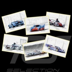 Set of 7 postcards Jacky Ickx 24h du Mans 6 wins Benoît Deliège illustrations
