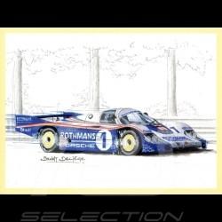 Lot de 7 cartes postales postcards Postkarte  Jacky Ickx 6 victoires aux 24h du Mans illustrations Benoît Deliège
