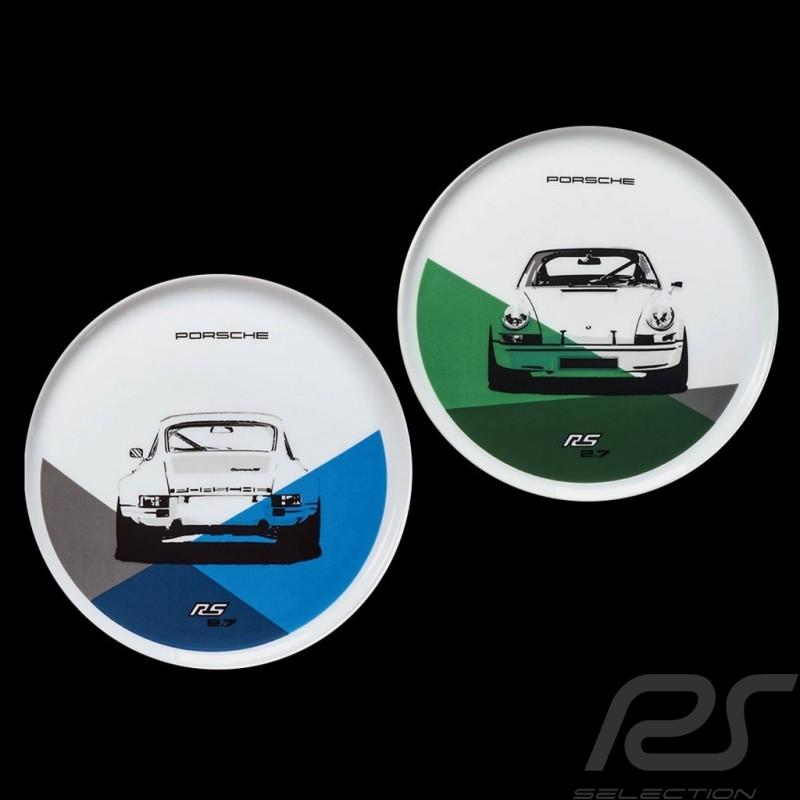 Set de 2 assiettes plates Teller Porsche 911 Carrera RS 2.7 N° 2/2 bleu vert blue green blau grün Porsche Design WAP0509580J