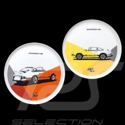 Set de 2 assiettes plates Teller Porsche 911 Carrera RS 2.7 N° 1/2 orange jaune yellow gelb Porsche Design WAP0509570J