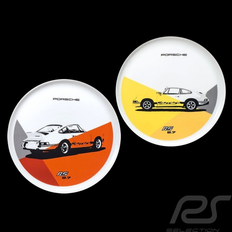 Set von 2 teller Porsche 911 Carrera RS 2.7 N° 1/2 orange gelb Porsche Design WAP0509570J