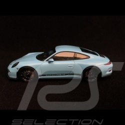 Porsche 911 R type 991 2016 bleu Gulf blue bandes latérales noires black side bands schwarze Streifen 1/43 Minichamps 410066225