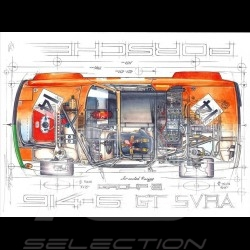 Porsche 914 /6 GT Air Cooled Racing Group 8 original drawing by Sébastien Sauvadet