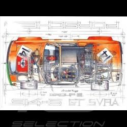 Porsche 914 /6 GT Air Cooled Racing Group 8 Original Zeichnung von Sébastien Sauvadet