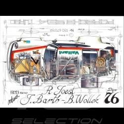 Porsche 934 Turbo Kremer Racing Signatur Dijon 1976 N° 7 Original Zeichnung von Sébastien Sauvadet