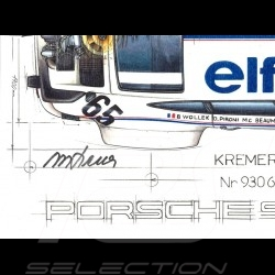 Porsche 934 Turbo Kremer Racing Signature Le Mans 1976 n° 65 original drawing by Sébastien Sauvadet